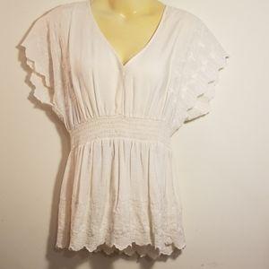 Torrid scallop sleeve creamy white blouse